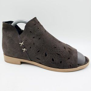 Coolway Brown Suede Leather Peep Toe Ankle Boots